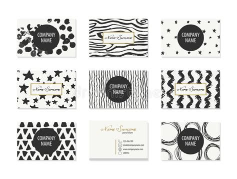 Set Of Business Cards With Hand Drawn Elements Stock Binder Clip Business Card Holder Rolodex Vinyl Book Designer Plugin Music Canva Icon Black Refill Pages Microsoft Blank Template Download Pic