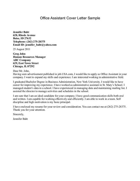 Cover Letter For Office Staff by Sle Resume Cover Letter Office Assistant