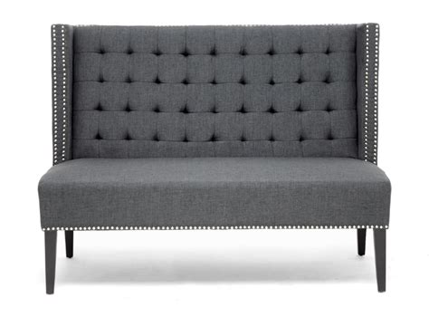 Grey Gray Modern Contemp Nail Head Tufted Banquette Linen