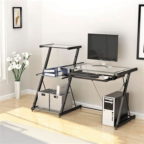 modern glass computer desk modern glass computer desk home stunning and modern