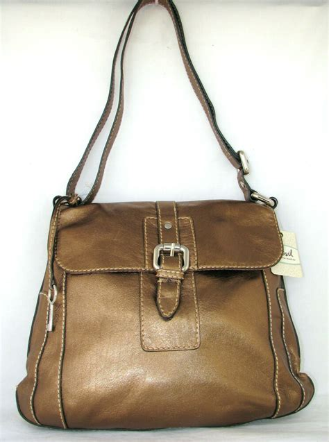 fossil gaby metallic bronze leather front flap