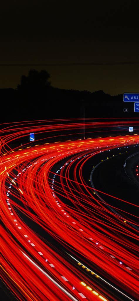 nh night road light red car street dark wallpaper