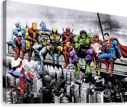 marvel  dc superheroes lunch atop  skyscraper