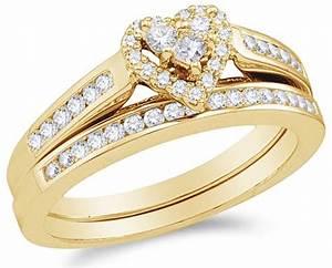 10k white gold diamond ladies bridal engagement ring with for Ladies diamond wedding ring sets