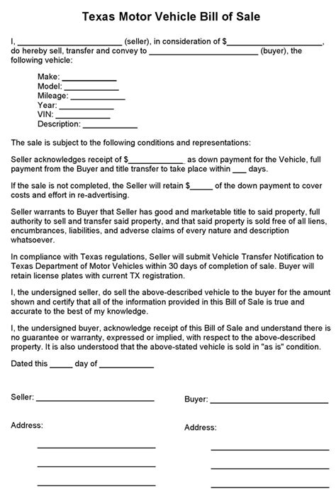 bill of sale form texas pdf free texas motor vehicle bill of sale form pdf 1 pages