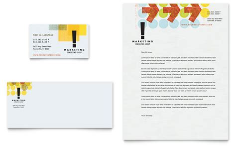 marketing consultant business card letterhead template