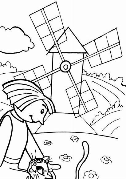Mill Coloring Pages Coloringway Building