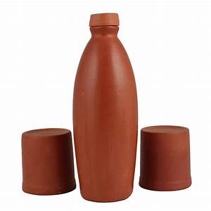 Mitti (Indian Clay) Water Bottle - Earthenware Pottery