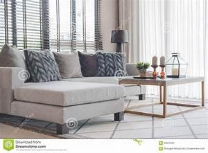 Salon Gris Et Bois : salon moderne avec le sofa gris moderne et la table en bois photo stock image du home beige ~ Melissatoandfro.com Idées de Décoration