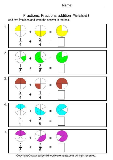Simple Picture Fraction Worksheets  Fraction Worksheetscoloring Fractions 5 Worksheets Free