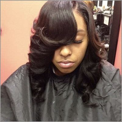 cute sew ins with bangs black hair ology