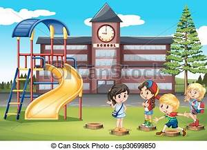 Children playing at school playground illustration clipart ...