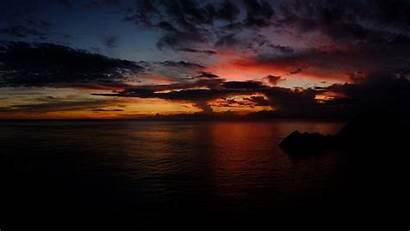 Sunset Dark Desktop Ocean Wallpapers Background Clouds