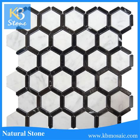 high quality black and white hexagon marble mosaic tile