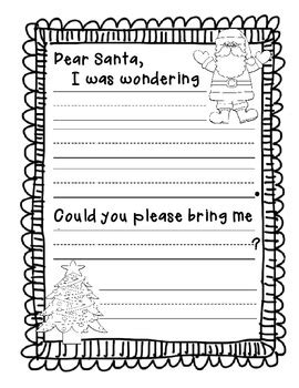 santa letter  kindergarten freebie