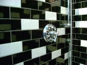 tile bathroom design black white subway tile in random pattern in shower flickr
