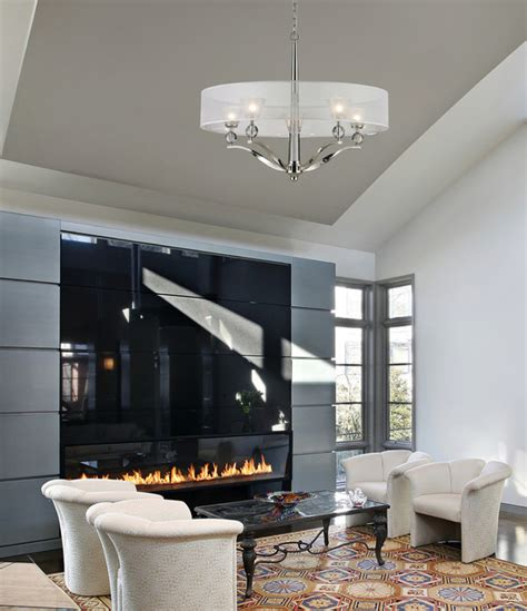 houzz living room lighting five light polished nickel drum shade chandelier
