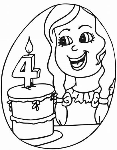 Birthday Coloring 4th Cake Four
