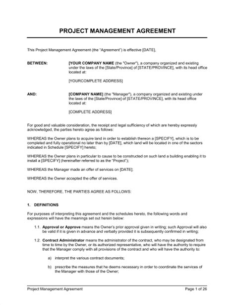 project management agreement template sample form