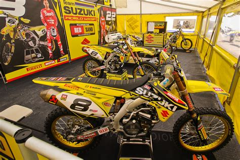 european motocross bikes team suzuki world mxgp in the pits mxgp of europe