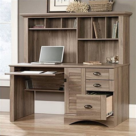 sauder harbor view computer desk with hutch sauder 415109 salt oak finish harbor view computer desk