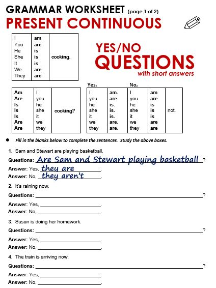 Yes  No Questions (present Continuous)  All Things Grammar