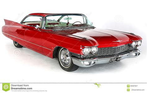Classic 1960 Red Cadillac Coupe Deville Car On White