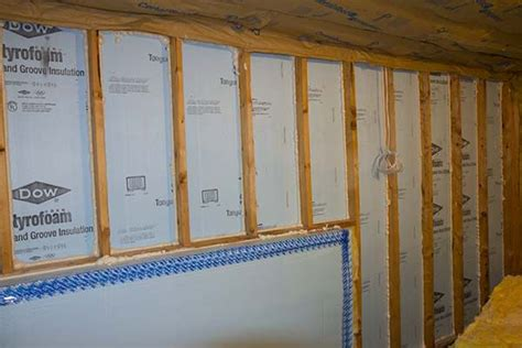 walk  basement wall insulated  dow foam board