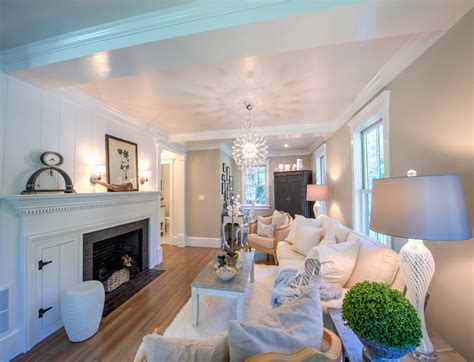 Narrow Living Room Layout With Fireplace by Shingle Cape Cod Home With Blue Kitchen Ceiling Home