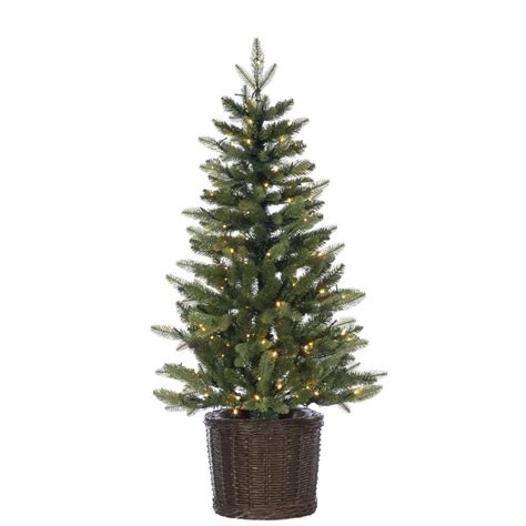 christmas trees for home accents 4 ft pre lit flocked porch tree with 7572