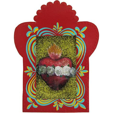 tin glass nichos collection red sacred heart nicho