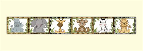 Baby Jungle Animals Wallpaper Border - dec studios jungle animals wallpaper border wall