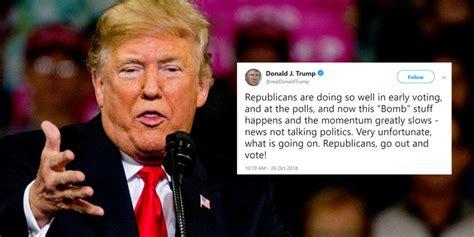 trump bomb hurt donald tweet flag false complains midterms him reinstein licensed shutterstock mark