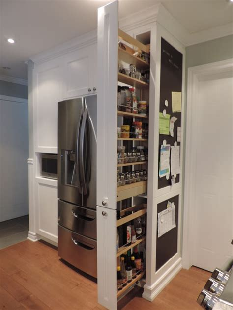 slide out pantry pull out pantry and chalkboard transitional kitchen