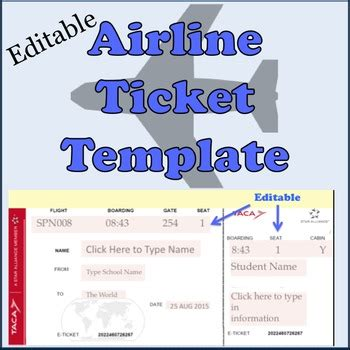 free printable airline ticket template airline plane tickets template by spanishplans tpt