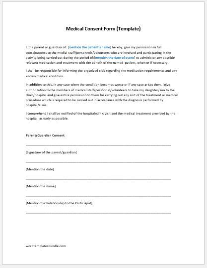 medical consent form template ms word formal word templates