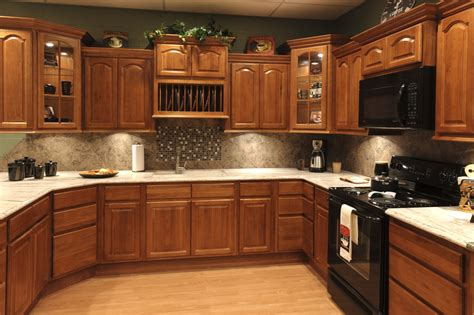 classy brown wooden dark oak wood kitchen cabinets for