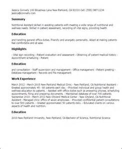 Dietitian Resume Format by Professional Nutrition Assistant Templates To Showcase Your Talent Myperfectresume