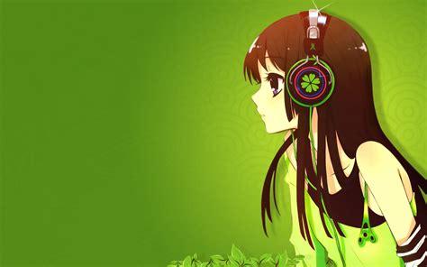 Headphones Green K-on! Akiyama Mio Anime Simple Background