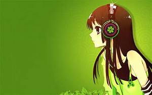 Headphones green K-ON! Akiyama Mio anime simple background ...