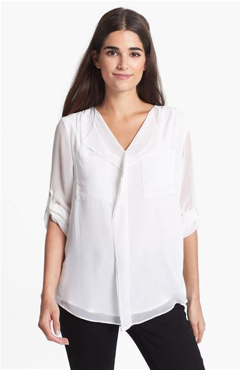 klein blouses calvin klein ruffle front chiffon blouse in white