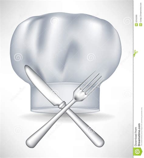 gourmet kitchen knives chef hat with crossed knife and fork royalty free stock