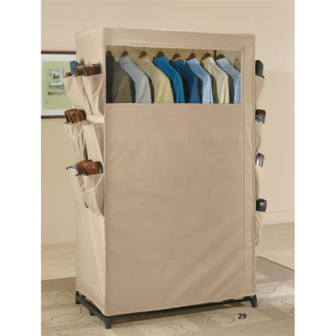 free standing wardrobe closet with shoe pockets in