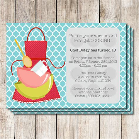 cooking party invitation baking party invitation printable