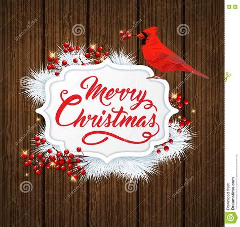 christmas banner  cardinal bird stock vector illustration  bird pine