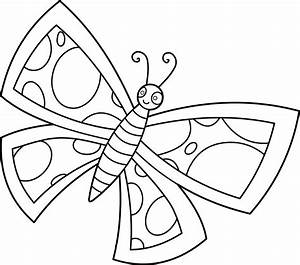 Colorable Spotted Butterfly Design - Free Clip Art