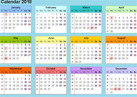 2018 Yearly Calendar Template Excel 2018 Calendar Template