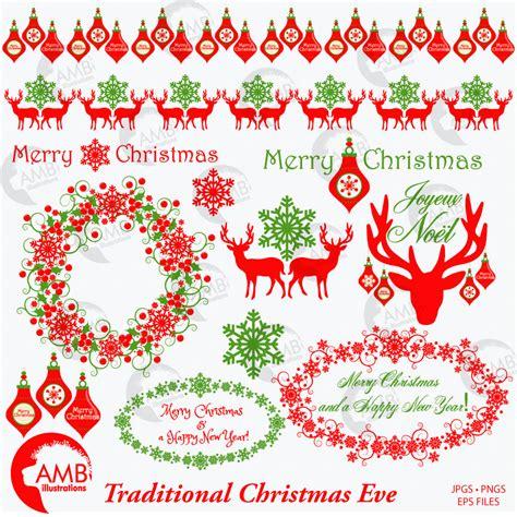 traditional christmas clip set christmas clip art traditional christmas clipart vintage