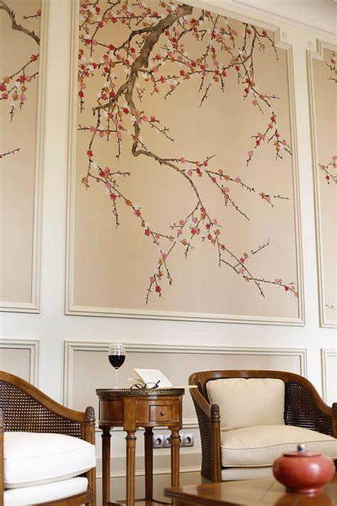 de gournay hand painted plum blossom wallpaper dining