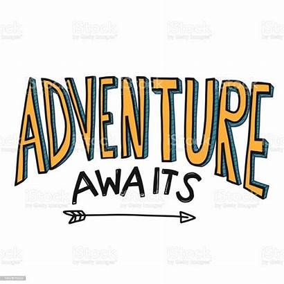 Adventure Word Awaits Illustration Cartoon Font Vector